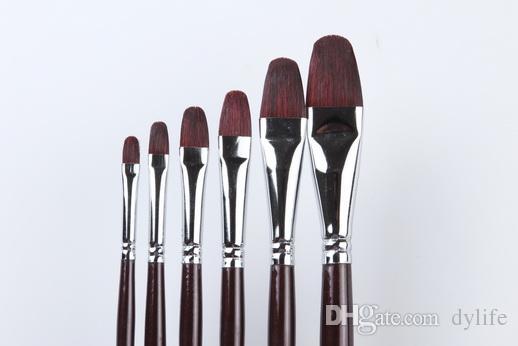 112 Filbert Shape Professional Weasel Hair Artist Set di pennelli per pittura ad olio 6 Pz / set Set pennelli per olio Manico in legno Capelli donnola