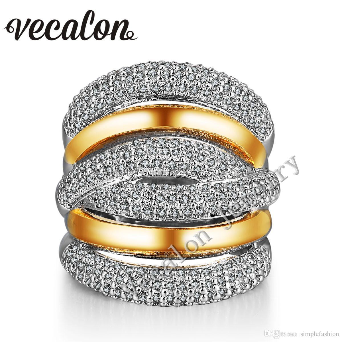 Vecalon 234pcs Anello di matrimonio Topaz diamante simulato Cz Croce impegno per le donne 14KT Bianco, Giallo, pieno d'oro femminile anello Banda