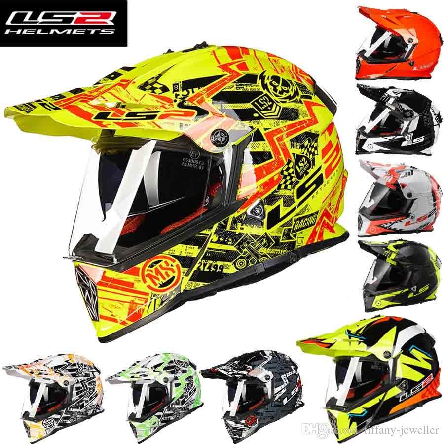 2016 새로운 LS2 더블 렌즈 Motocross 오토바이 헬멧 남성 여름 전문 경주 오프로드 오토바이 헬멧 ABS MX436