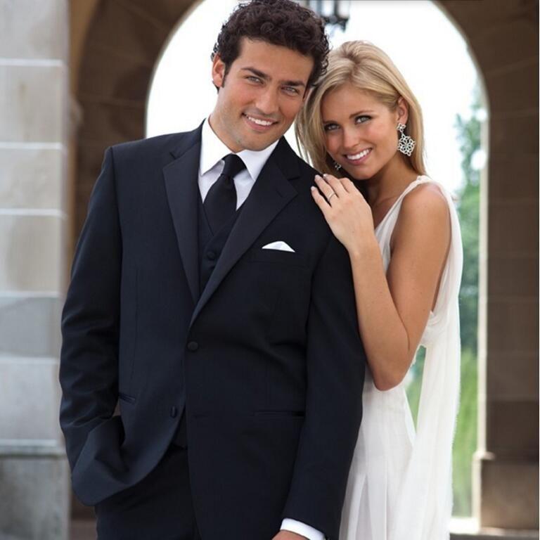 Custom made homens ternos clássicos preto de alta qualidade homens casamento terno smoking ternos smoking ternos de baile (jaqueta + colete + calça)