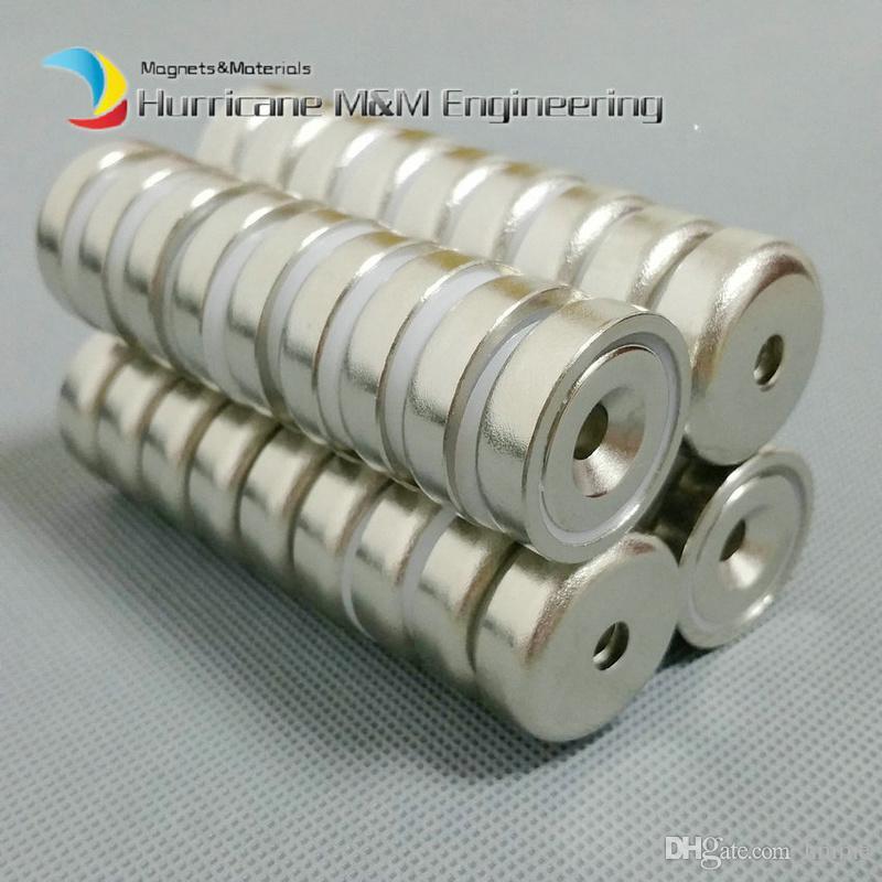 300 pezzi Magnete di montaggio Diametro 20mm Magnete con morsetto con foro a testa svasata Forte magnete di tenuta permanente al neodimio