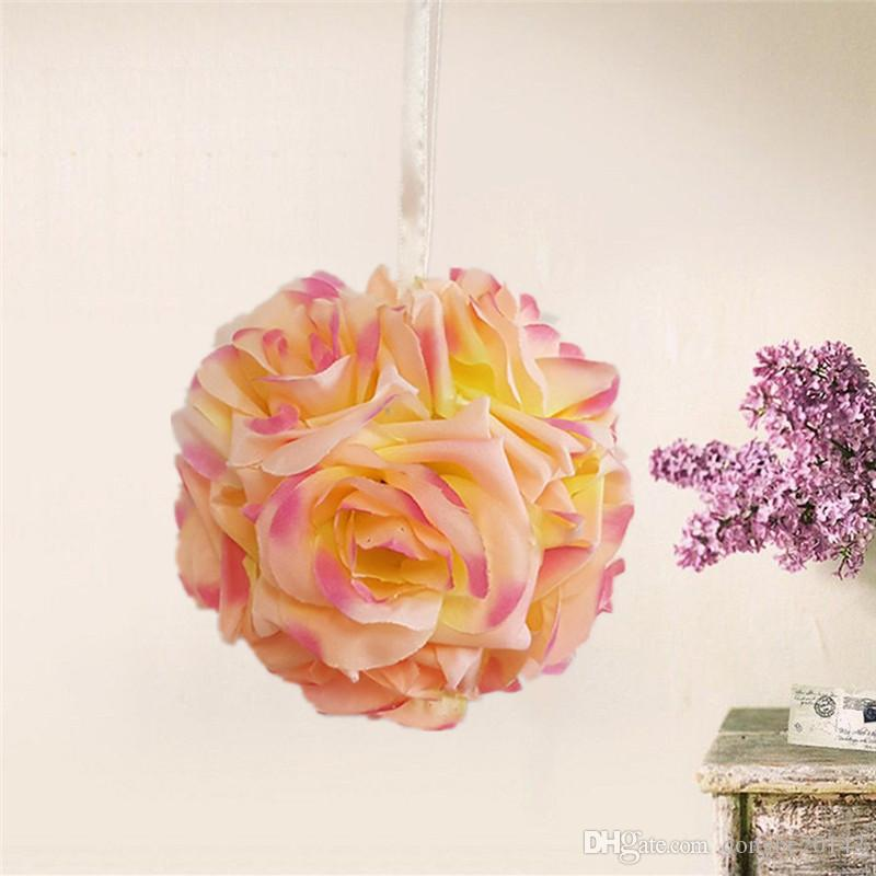 2pcs/lot 10CM New Artificial Encryption Rose Silk Flower Kissing Balls Hanging Ball Christmas Ornaments Wedding Party Decorations