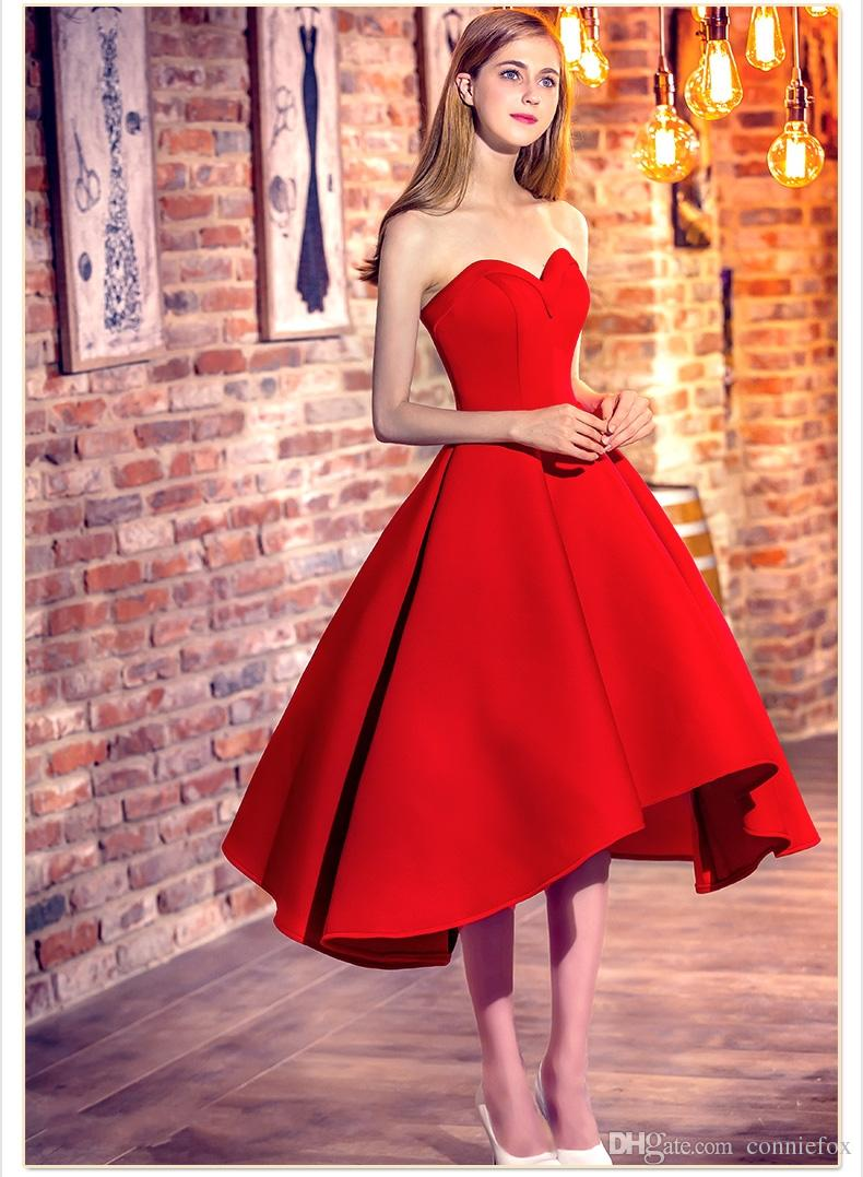 Cute Fashion Sweetheart Red Cocktail Dresses 2017 Satin High Low ...