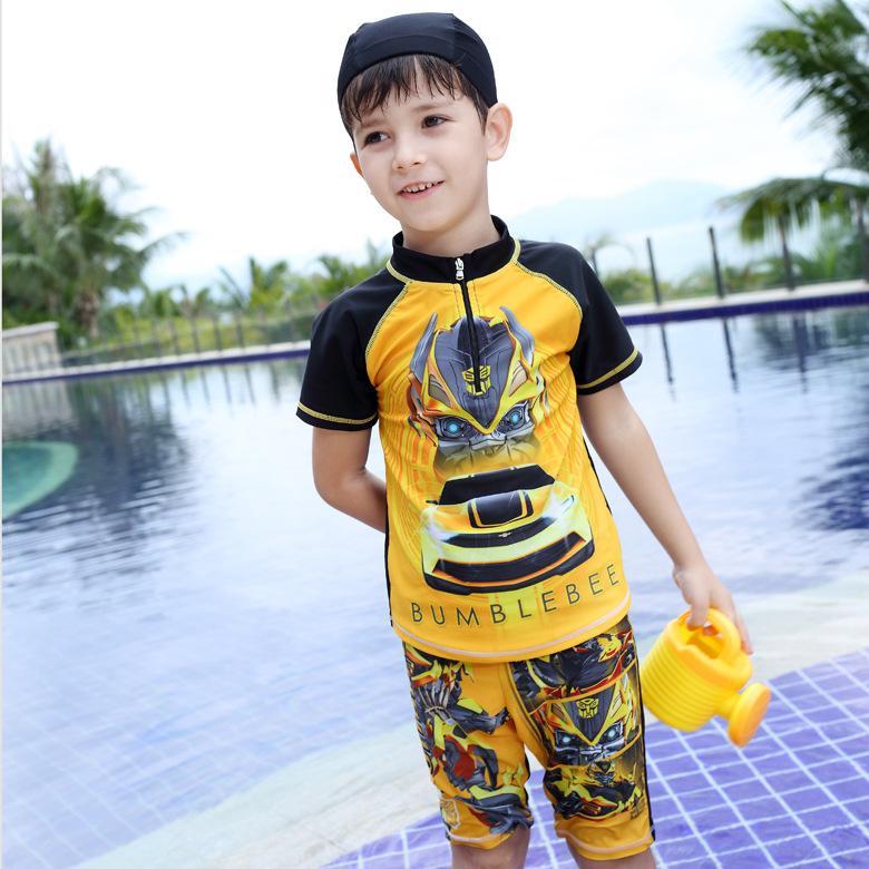2b69426c6b00c 2016 New Fashion Bumblebee Kids Boys Cartoon Two-Piece Swimwear Outdoor  Sports Spa Swim Wear Short Sleeve Swimsuit Childrens Students