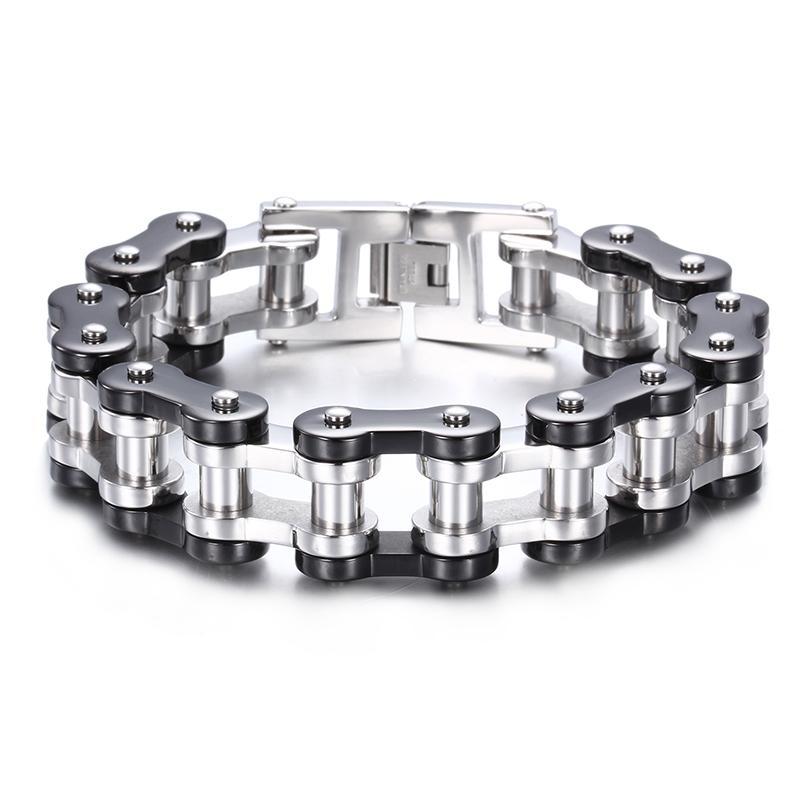 """Alta qualità Chunky acciaio inossidabile 316L Gotico moto da uomo Bracciale catena a maglia argento nero 9.2 """""""