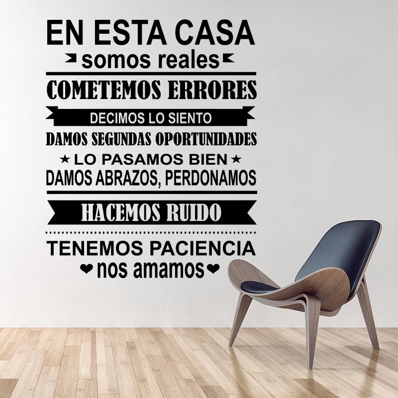 Spanish EN ESTA CASA House Rules Wall Sticker Home decor Family Quote house Decoration Vinyl Wall Decals kids room Free shipping