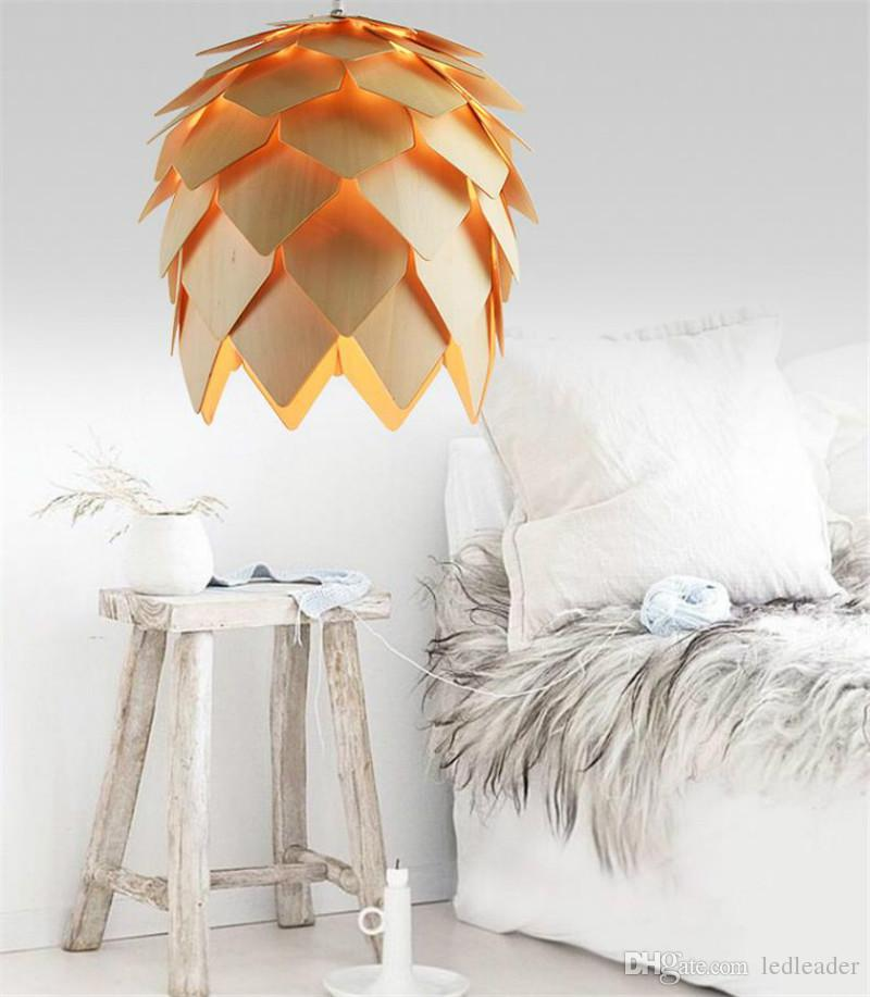 L10-DIY Wooden Led Pinecone Pendant Lights Modern Handmade IQ Puzzles Home Restaurant Hanging Pine Cone Wood Chandelier Light AC100-240V