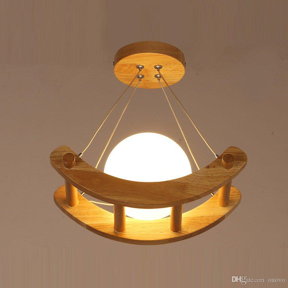 Wooden Glass Moon Boat Kids Bedroom Pendant Light Dining Room