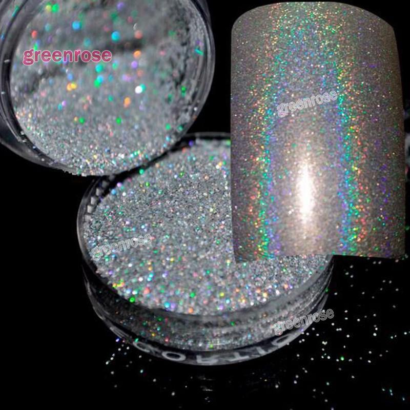 Vente en gros- Nouvelle poudre laser holographique poudre de poussière fard à paupières glitter poudre ongles pigment pigmentaire Rainbow Chrome poudre outils à ongles art DIY
