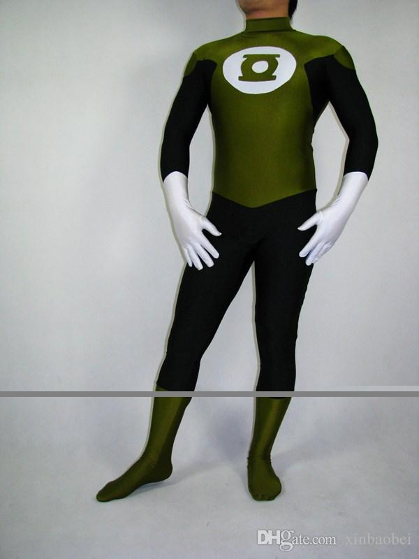 Army Green Lycra Zentai Green Lantern hero costume Halloween costume props stage performances tights