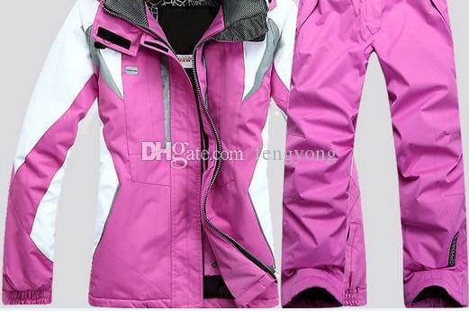 Высокое качество спортивной одежды лыжная куртка женщин лыжный костюм ветрозащитный водонепроницаемая одежда для лыж (куртка и брюки) Бесплатная доставка