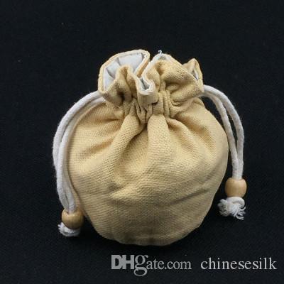 De fundo redondo bonito com cordão Bucket Bag de alta qualidade Plain algodão pano de linho pequena bolsa sacos de embalagem para presente de jóias saco de armazenamento 10pcs /