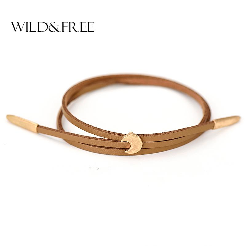 Wholesale- Women New Double Layer PU Leather Bracelets Vintage Worn Gold Zinc Alloy Moon Pendant Adjustable Charm Bangles Jewelry Female