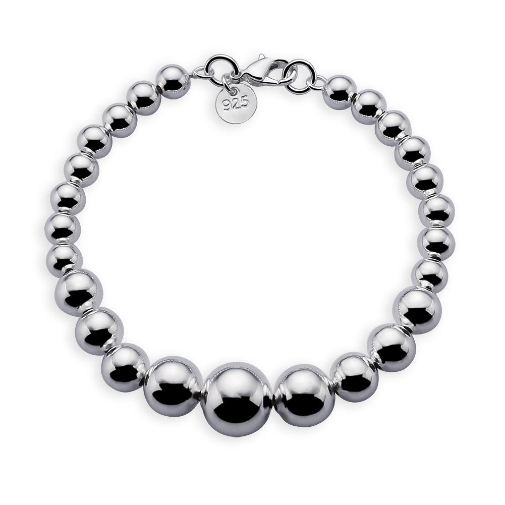 """Oferta especial 925 Sterling Silver Hollow Incremental Size Bead Chain Bracelet 8 """""""