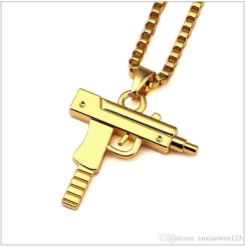 Vendita di fabbrica catena d'oro pendente a pistola unisex 18 k placcato oro submachine pistola pendente catena maxi pistola collana per gli uomini / donne hip hop