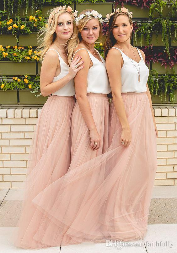 306169e21 2017 Hot Cheap Bridesmaid Dresses Boho Tulle Prom Dresses Spaghetti  Bridesmaid Gowns Floor Length Evening Party Gowns Custom Made