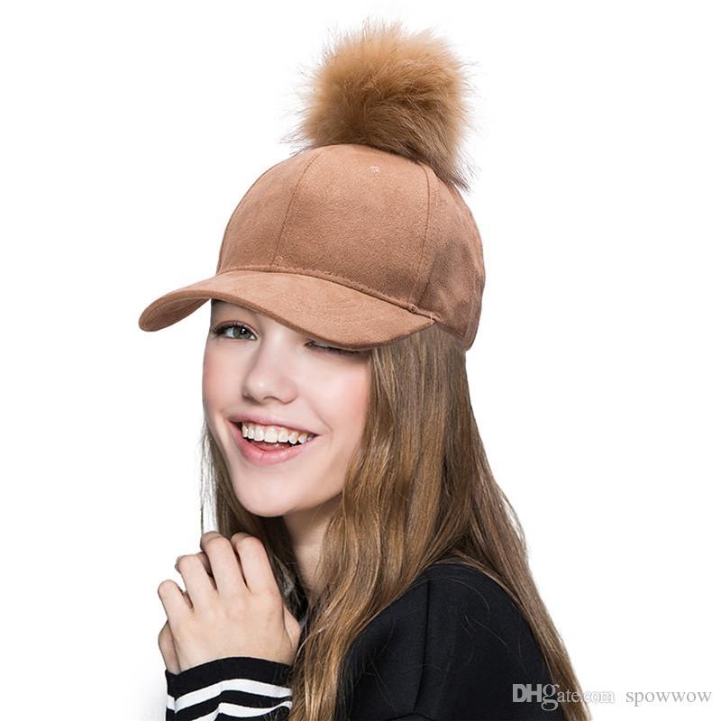 Nouveau Élégant Réglable Femmes Unisexe De Fourrure De Pom Pom Suede Baseball Cap Hip Hop Filles Chapeau A383