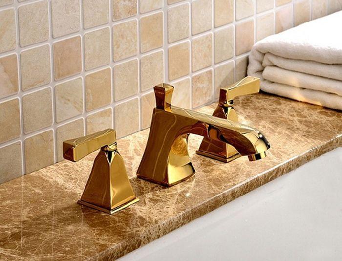 Frete grátis cor dourada Patente De Poupança De Água de Bronze Luxuoso de 8 Polegada Difundida Torneira Da Bacia De Ouro Casa de Banho misturas quentes e frias Torneiras BF912