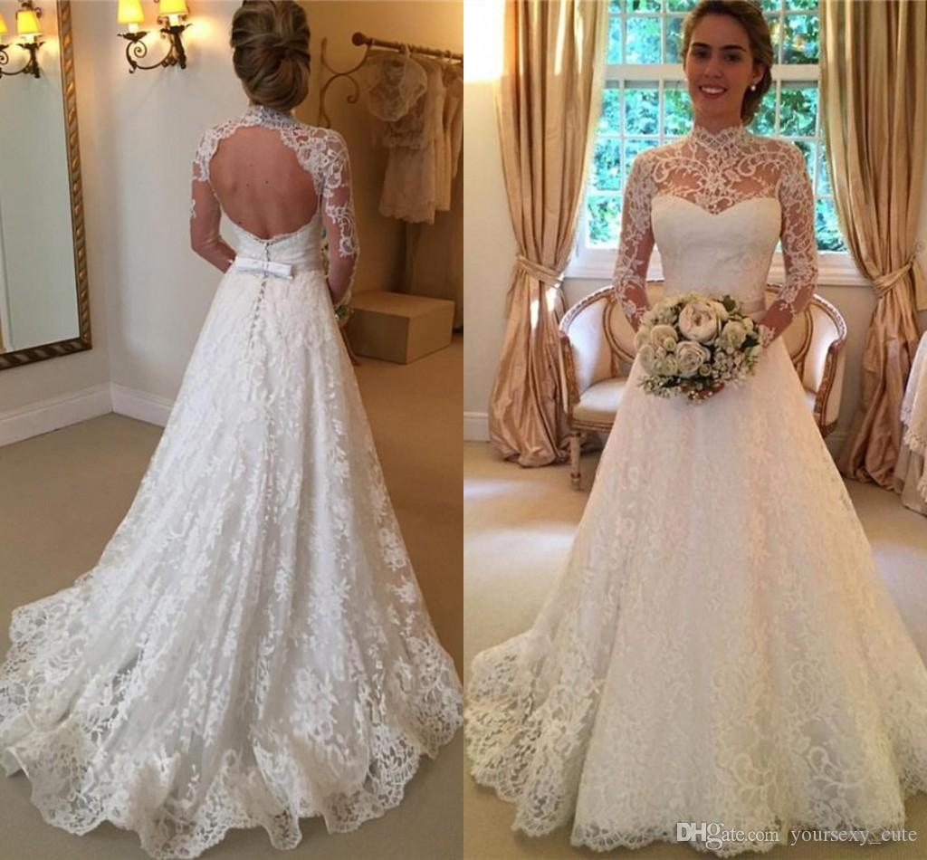 Cheap 2017 Elegant Lace Wedding Dresses High Neck Long Sleeves ...