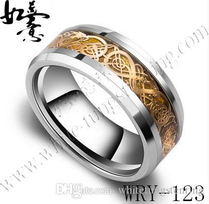 Anelli in tungsteno concavo placcato oro 18k per gioielli da uomo anelli di fidanzamento
