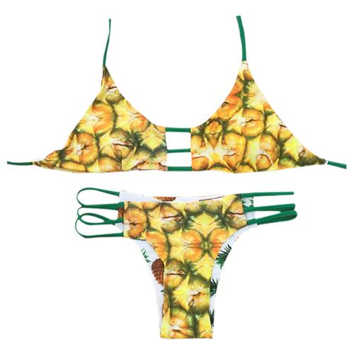 7dac92a1075c9 2019 Lady Reversible Bikini Set Swimsuit Pineapple Print Halter Swimwear  Bathing Suit BHR9 From Pond, $11.13 | DHgate.Com