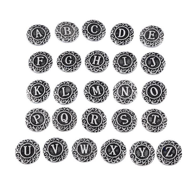 Noosa Vintage 26 영어 편지 진저 스냅 금속 18mm Noosa 청크 스냅 버튼 교환 할 수있는 보석 액세서리