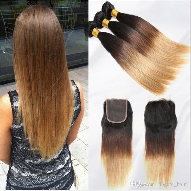 1B / 4/27 Miel Blonde Ombre Péruvienne Cheveux Humains 3Bundles Avec 1 Pc Dentelle Fermeture 4 Pcs Lot Vierge Péruvienne Droite Ombre Cheveux Avec Fermeture