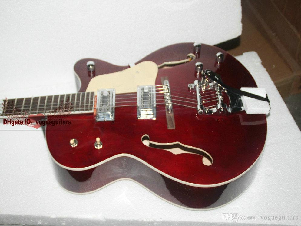 New Arrival red Hollow Electric Guitar 6120 Jazz Guitar OEM Musical instruments HOT A7890