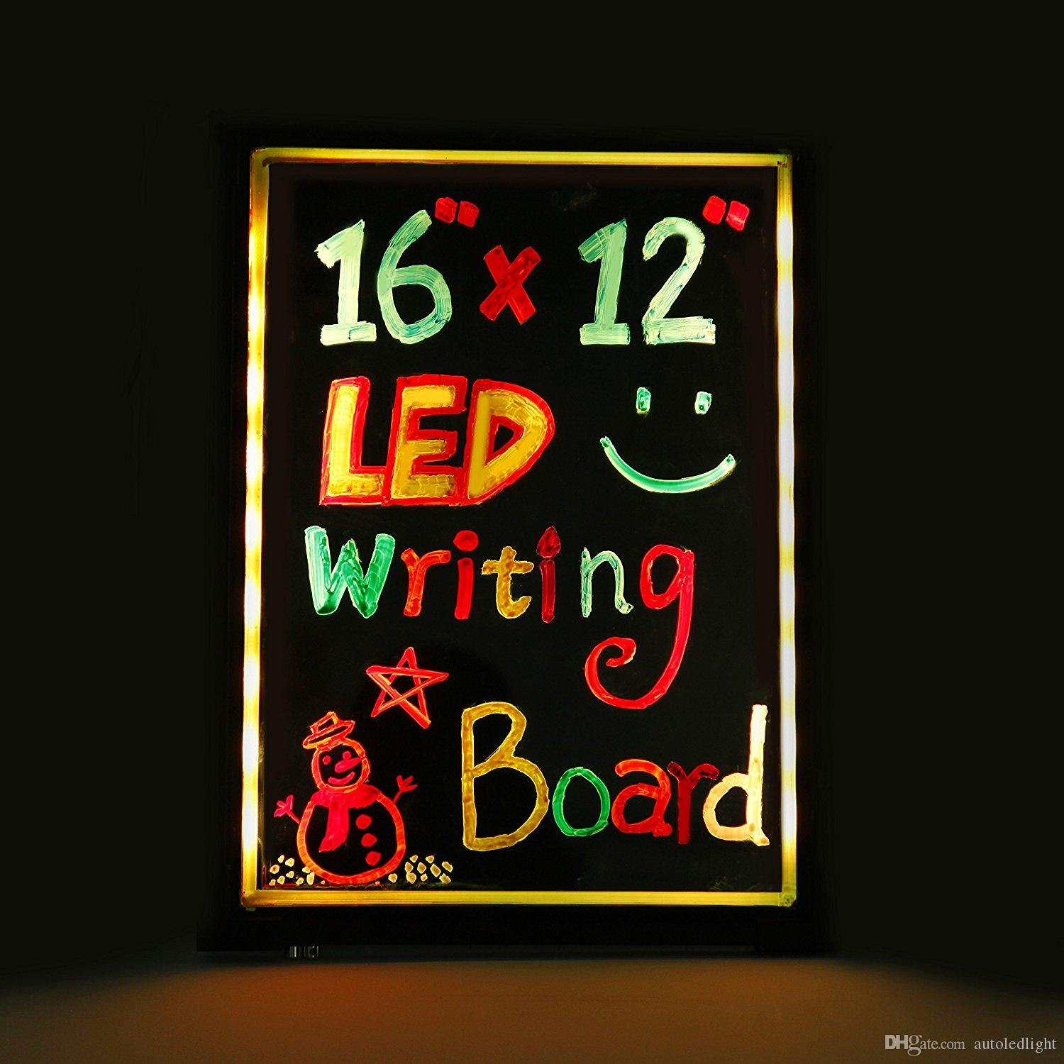 LED Writing Message Board Illuminated Erasable Neon Effect Restaurant Menu Sign with 8 colors Markers, 7 Colors Flashing DIY