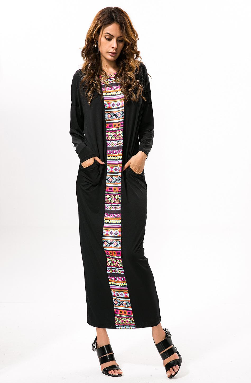 웨스턴 여성 Batwing 슬리브 False 두 조각 느슨한 맥시 긴 풀 스커트 드레스