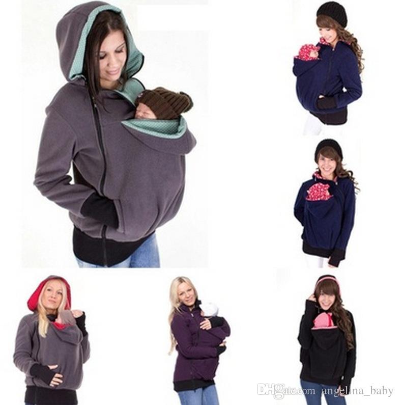 Felpa con cappuccio di maternità invernale nuova di zecca Abiti da allattamento 3 in 1 Cappotto di maternità gravidanza Abbigliamento multifunzionale a canguro