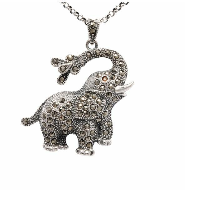 Free shipping antique thai silver jewelry lucky charm souvenir cute antique thai silver jewelry lucky charm souvenir cute elephant 925 silver pendant with marcasite stone mozeypictures Image collections