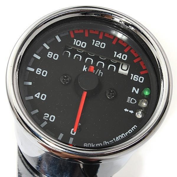 metallo Tachimetro per moto doppio contachilometri con indicatore 12V universale in plastica nera