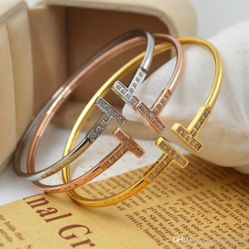 أساور مزدوجة T كريستال للنساء فتح أساور قابل للتعديل ذهب فضة روز الذهب الإسورة سوار مجوهرات
