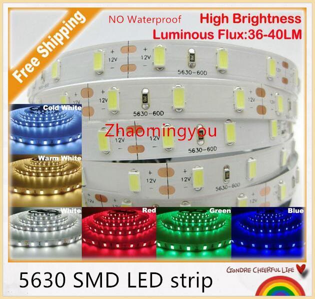 Envío gratuito de alta potencia 5630 SMD LED tira luz flexible DC 12V No impermeable 60LED / m 5m / lot