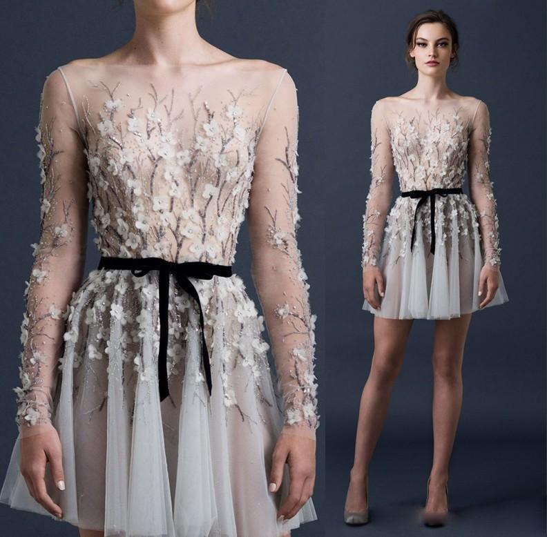 Paolo Sebastian 2019 Sexy Cocktail Dresses Long Sleeve 3D-Floral Appliques A Line Party Gowns Bateau Neck Beadedi Illusion Bodice Prom Dress