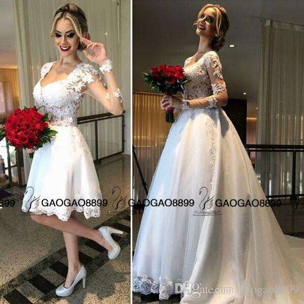 2019 Hot Fashion Two Pieces Detachable Train Beach Short Wedding Dresses with Long Sleeve Scoop Knee-length Cheap Bridal Wedding Gown
