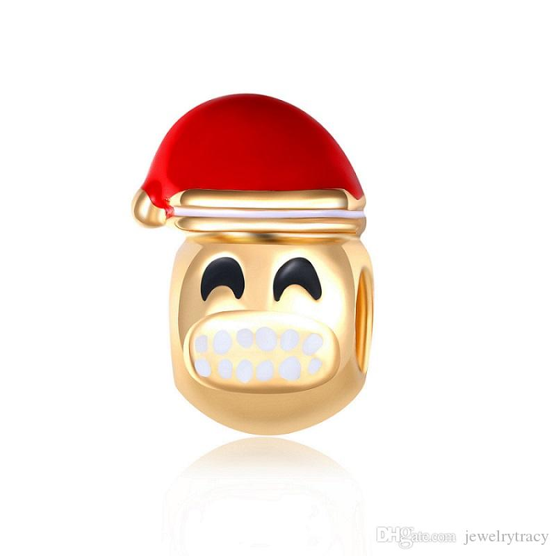 New Christmas ornaments present personality Diy bracelet loose beads tooth face smiling face gold alloy big hole charms