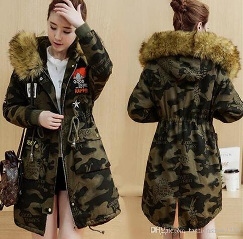 elegant shoes classic chic durable in use 2019 Hot Sale Camouflage Jackets Fur Hooded Long Clothes Ladies Fashion  Outerwear Patchwork Winter Coats Women'S Clothing Thick Warm Windbreaker  From ...