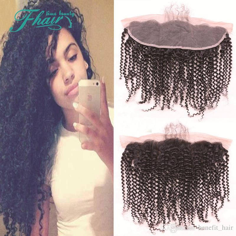 DHL Free Shipping Mongolian Kinky Curly Full Lace Frontal Closure 13X4 7A Grade Bleached Knots Human Hair Ear to Ear With Baby Hair