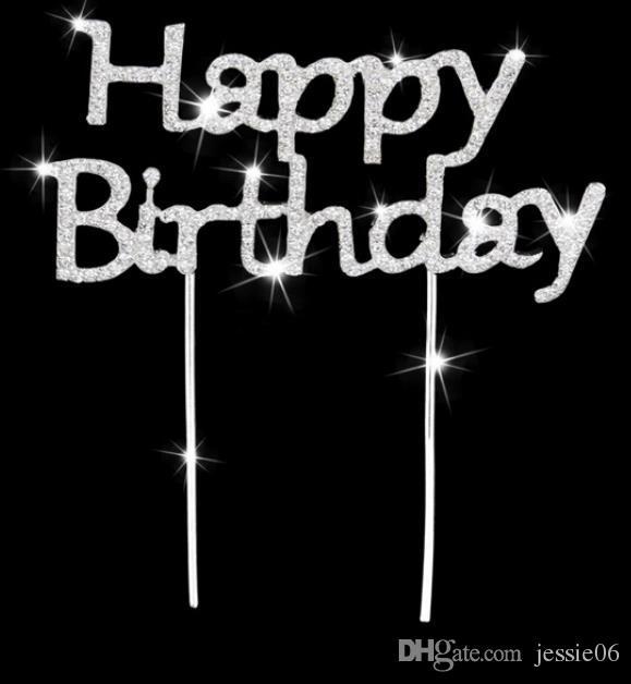 Glänzende Strass alles Gute zum Geburtstag Kuchen-Deckel Stecker Letters Kristall Pick-Stock-Kuchen-Dekoration für Geburtstags-Party-Kuchen-Zusatz Ereignis liefert