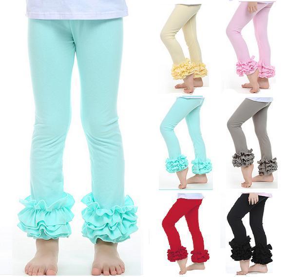 Per i più piccoli Il bambino del bambino delle ragazze dei capretti Ruffle Leggings Con 3 increspato nuova neonata increspature Leggings bambini Posh Pantaloni di cotone