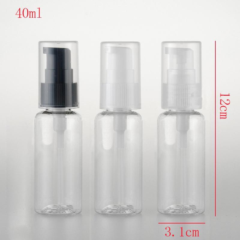 50 unids, 40 ml Tamaño de Viaje Botella de Desinfectante de Mano Vacía Mini Botella de Perfume Recargable Bomba de Plástico Shampoo Muestra Pequeña Botella