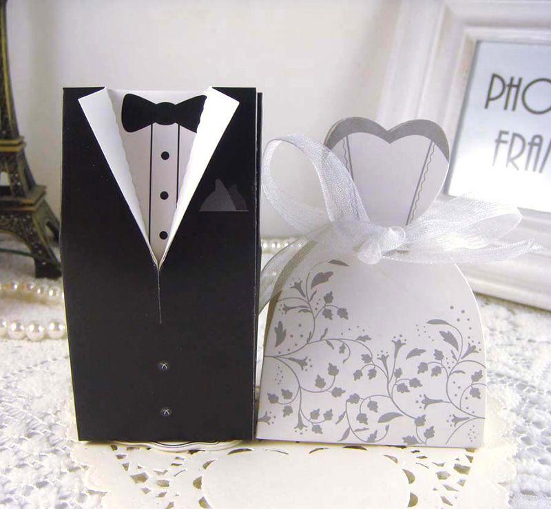 100pcs mariée marié bonbonnière avec motif de fleur cadeau de faveur de mariage bonbon boîtes cadeau robe smoking doux boîte de cadeau