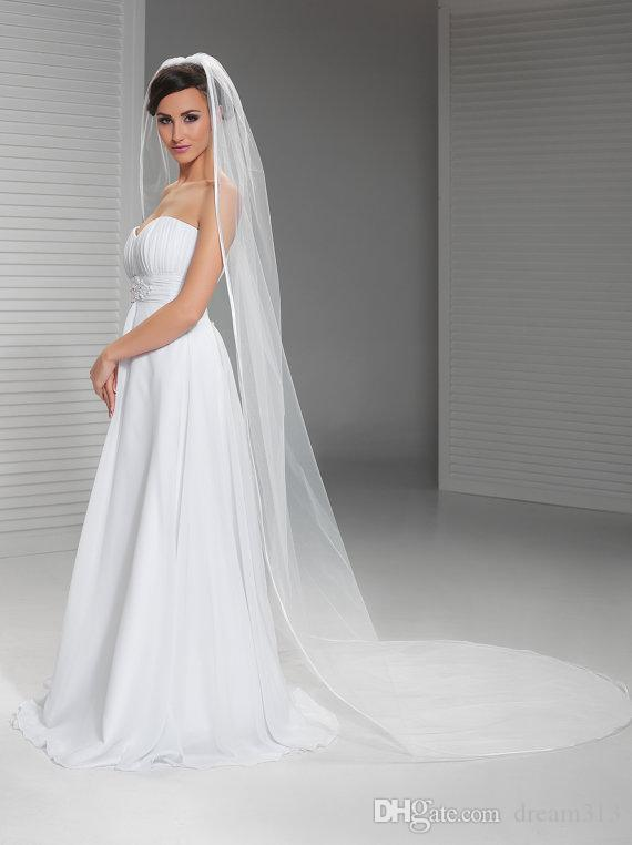 New High Quality Best Sale Cathedral White Ivory Line Edge Veil Mantilla Veil Bridal Head Pieces For Wedding Dresses