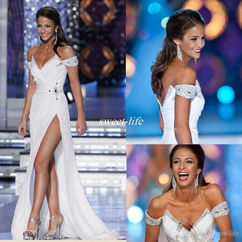 White Miss World 2019 Robes de soirée de l'épaule de l'épaule BLANCHE BLANCHE PERADES PERLES DE BANDES SEXY SEXY HAUTE SPLIT DOPE À UNE LONGUE DE PROM