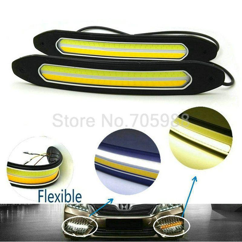 Luzes running impermeáveis do dia do diodo emissor de luz da ESPIGA de 10W 100% que giram o sinal DRL branco / luz principal do carro do amarelo