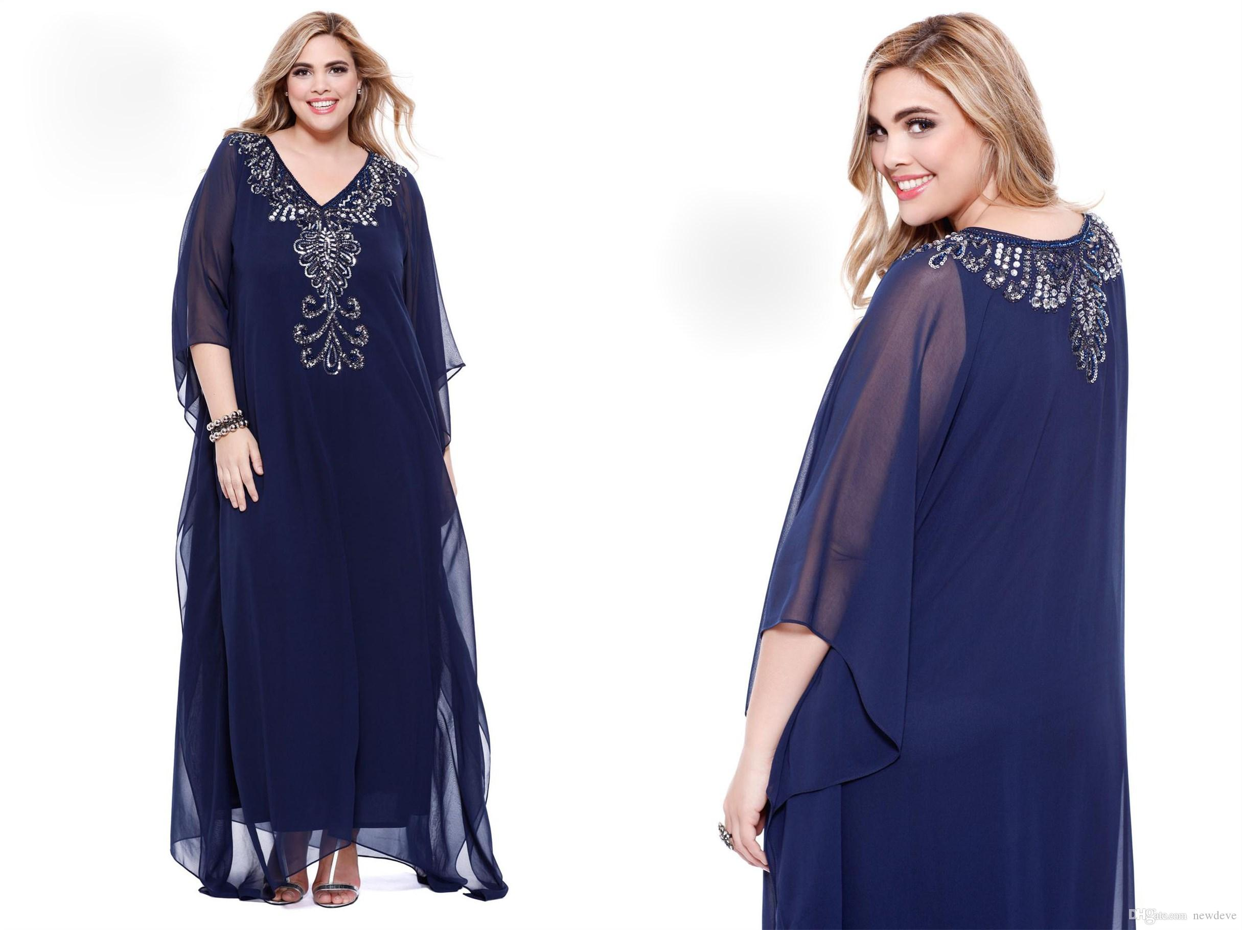 online for sale newest collection on wholesale Elegant Beaded Plus Size Special Occasion Dresses Long Sleeve Prom Gowns V  Neck Shail Kusa Formal Dress Plus Size Summer Dresses Plus Size Tops From  ...