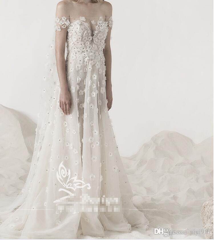 Abiti da sposa scollo a barca Sexy con avvolgere Abito da sposa di alta qualità Abito da sposa vintage avorio 2017 Vestido De Novia