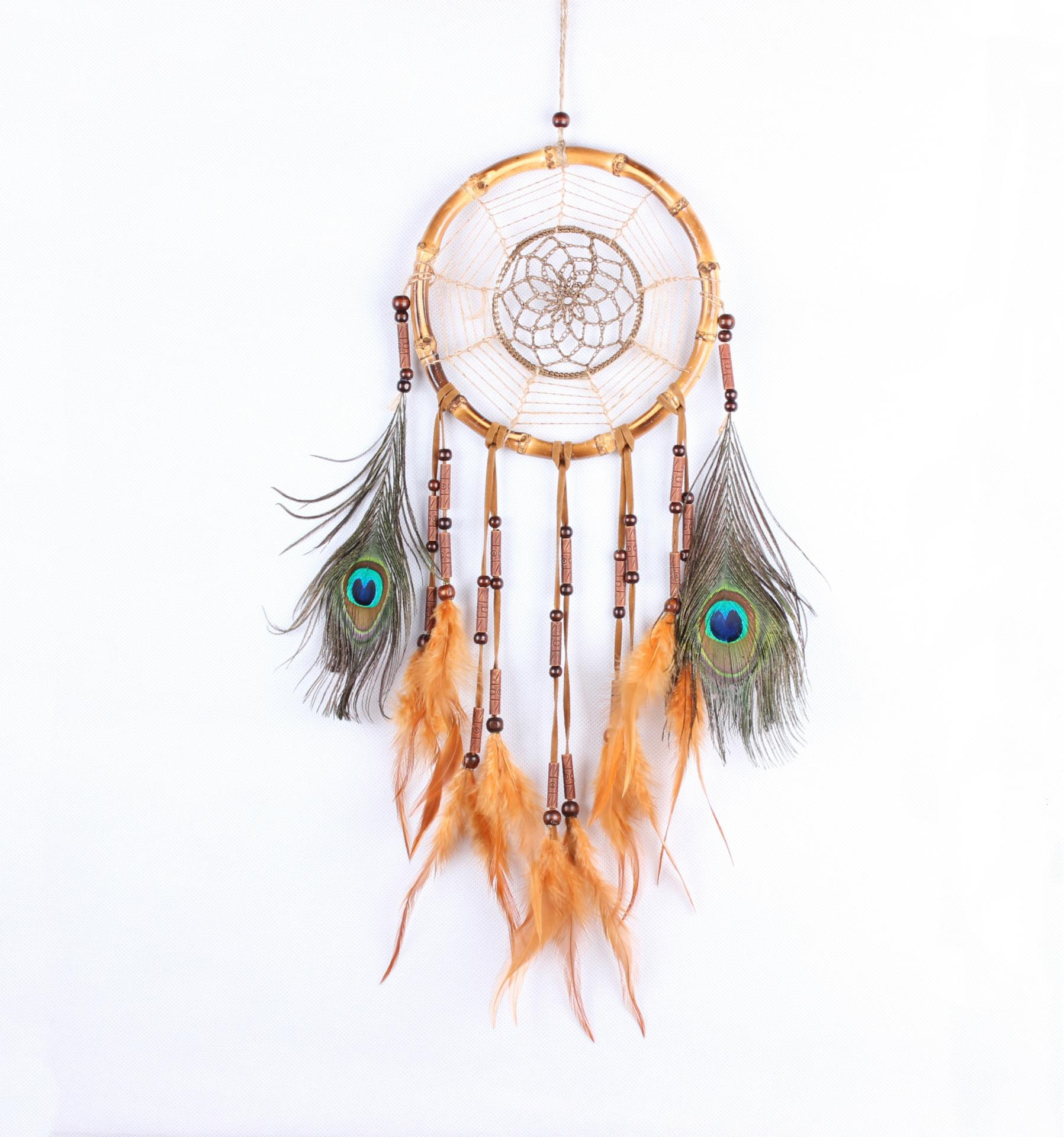 Ornaments Creative Feathers Hand-Woven Led Lights Dream Catchers Night Lights Wind Chimes Gift Pendants Home Accessories